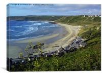 Whitesand Bay and Gwynver Beach, Canvas Print