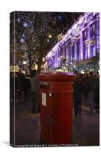 Festive Oxford Street Post Box, Canvas Print