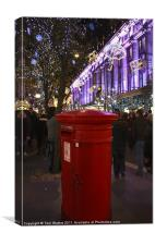 Bright Red London Post Box, Canvas Print