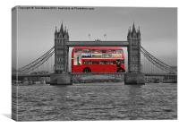 Red bus, black & white Tower Bridge, Canvas Print