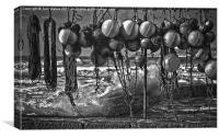 Black and White Buoys, Canvas Print