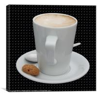 Cup of Cappucino with an Amaretti Biscuit, Canvas Print