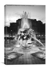 Trafalgar Square Fountain in Monochrome, Canvas Print