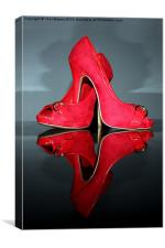 Red stiletto high heeled Shoes, Canvas Print