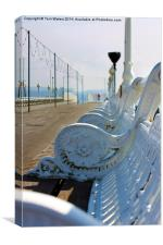 Wrought Iron Benches Torquay Pier, Canvas Print