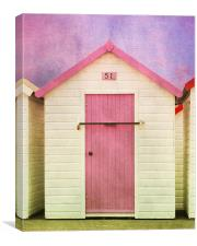 Pink Beach Hut, Canvas Print