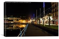 Torquay Victoria Parade At Night, Canvas Print