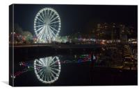 Torquay Marina And Ferris Wheel at Night, Canvas Print