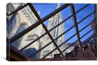 Salisbury Cathedral Spire From The Shop , Canvas Print
