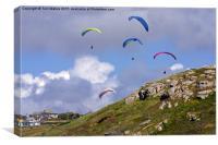 Paragliding Over Sennen Cove , Canvas Print