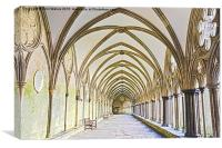 Salisbury Cathedral Cloister HDR, Canvas Print