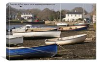 Boats At Mylor Bridge, Canvas Print