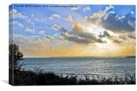 Across Falmouth Bay Cornwall, Canvas Print