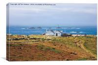 Longships Lighthouse Overlooks Lands End , Canvas Print