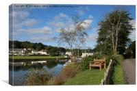 Wooden Bench Mylor Bridge, Canvas Print