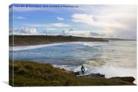 Surfing Godrevy, Canvas Print