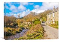 Penberth Stream And A Stone Cottage, Canvas Print