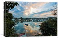 Creek Sunset Mylor Bridge, Canvas Print