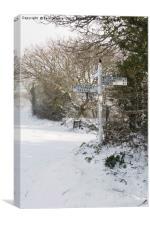 Snowy Cornish Signpost, Canvas Print