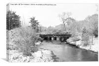 Old Carnon Bridge in the Snow, Canvas Print
