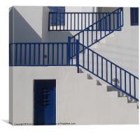 Greek Island house with blue doors & stairways, sh