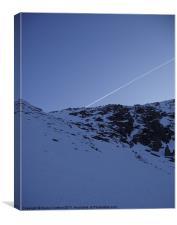 Snowy mountain & flight path, Canvas Print