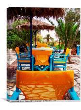 Santorini Yellow Chairs, Canvas Print