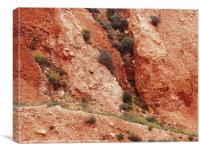 Red rock of island of Milos, Cyclades, Canvas Print