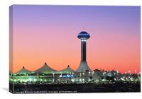 Abu Dhabi waterfront at night, Canvas Print