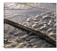 Rope across wet rivulets of sand., Canvas Print