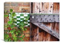 Old wood, brick, & enamel meet, Canvas Print