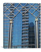 Reflections, Abu Dhabi city building, Canvas Print