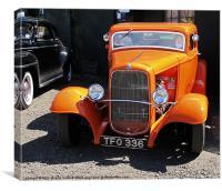 Orange Vintage Ford Car, Twinwood, Canvas Print