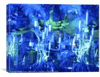 Paralympic Closing Ceremony Blues Greens, Canvas Print