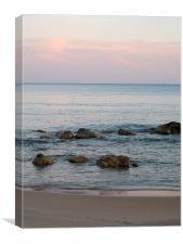 Sunset, natural pinks & blues, Greece, Canvas Print