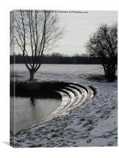 Olney, Buckinghamshire, in snow., Canvas Print