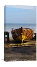 Rudi, fishing boat Deal shore, Kent., Canvas Print