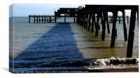 Deal Pier legs & shingle shore, Kent, Canvas Print