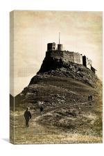 Vintage Lindisfarne Castle., Canvas Print