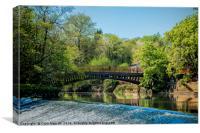 Newlay Top Weir and Pollard Bridge, Canvas Print