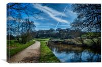Vapour trails over the canal., Canvas Print