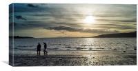 Evening stroll on the beach, Canvas Print