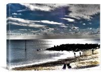 Silhouette Beach Scene, Canvas Print