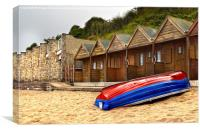 Boat And Beach Huts, Canvas Print