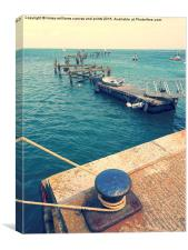 Old Swanage Pier In Vintage Tones, Canvas Print