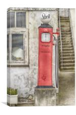 Shell Petrol Pump, Canvas Print