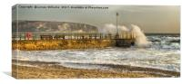 Swanage Jetty in Rough Weather, Canvas Print