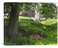 Old Mill and Deer, Canvas Print