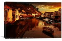Polperro Sunset, Canvas Print