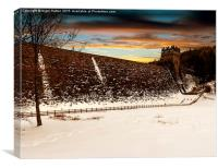 Snow at Derwent Dam, Canvas Print